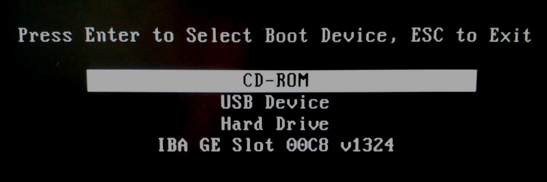 boot menu inicio
